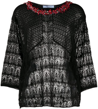 Blumarine Embellished Neck Sheer Knit Top
