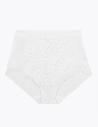 Marks and Spencer Medium Control Cotton & Lace Full Briefs