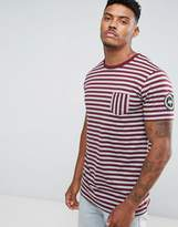 Hype T-Shirt In Gray With Burgundy Stripes