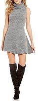 J.o.a. Sleeveless Solid Turtleneck Sweater Dress