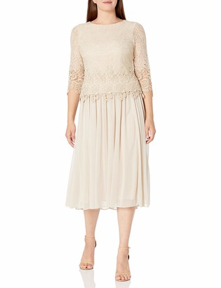 Alex Evenings Women's Tea Length Mock Lace Dress with Scallop Detail (Petite and Regular Sizes)