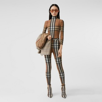Burberry Check Stretch Jersey Turtleneck Top