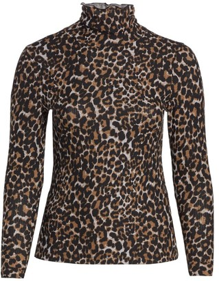 Baacal, Plus Size Leopard-Print Mockneck Top