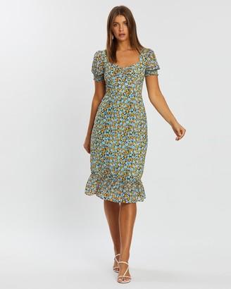 Atmos & Here Sofia Puff Sleeve Midi Dress