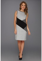Nine West Menswear Square Shift Dress (Black/Ivory) - Apparel