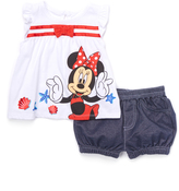 Children's Apparel Network White Minnie Mouse Angel-Sleeve Top & Bloomers - Infant