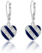 Midnight Stripe Heart Drop Earrings With Swarovski® Crystals