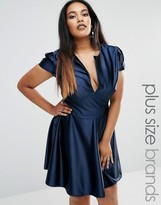 Club L Plus Pam Skater Dress In Satin