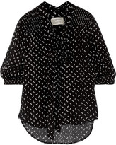 Current/Elliott Willow Pussy-bow Floral-print Crepe Blouse - Black