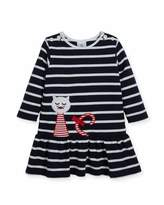 Florence Eiseman Striped Pique Knit Dress w/ Cat Embroidery, Size 2-4