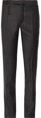Incotex Charcoal Slim-Fit Brushed-Wool Trousers
