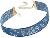 INC International Concepts Gold-Tone Floral Denim Choker Necklace, Only at Macy's