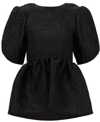 Cecilie Bahnsen Karma Puff-sleeve Floral-matelasse Blouse - Black