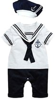 Meihuida Baby Boy Girl Anchor Sailor Navy Striped Photo Props Romper&Hat Outfit
