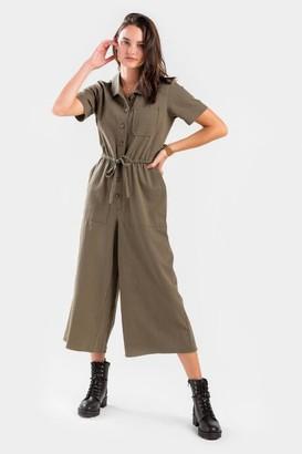 francesca's Hallie Utility Wide Leg Jumpsuit - Olive