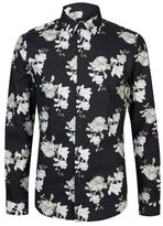 Burton Mens Black Floral Long Sleeve Muscle Fit Shirt With Stretch