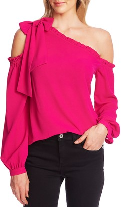 CeCe One-Shoulder Long Sleeve Blouse