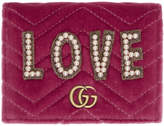 Gucci Pink Velvet Small Love GG Marmont Wallet