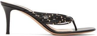 Gianvito Rossi Luxor Beaded-strap Leather Sandals - Womens - Black
