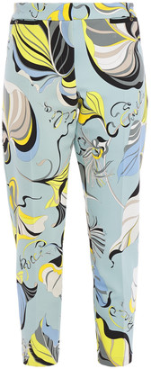 Emilio Pucci Cropped Printed Cady Slim-leg Pants