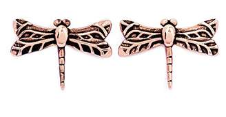 Chrysalis By Silver Willow Chrysalis 18k Rose gold plate Dragonfly stud earrings. Wear your Dragonfly earrings to embrace new perspectives and positive changes.