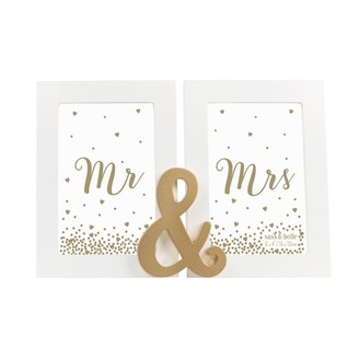 Sass & Belle & Belle Mr And Mrs Gold Double Photo Frame