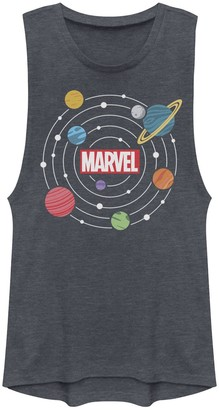 Licensed Character Juniors' Marvel Solar System Logo Muscle Tank Top
