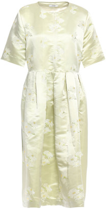 Ganni Senna Pleated Floral-jacquard Dress