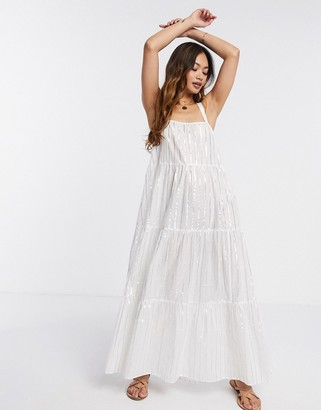 ASOS DESIGN tiered maxi dress in metallic stripe in white
