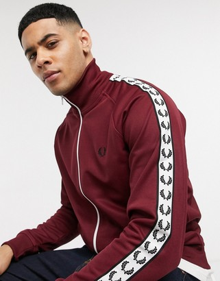 Fred Perry taped track jacket in burgundy
