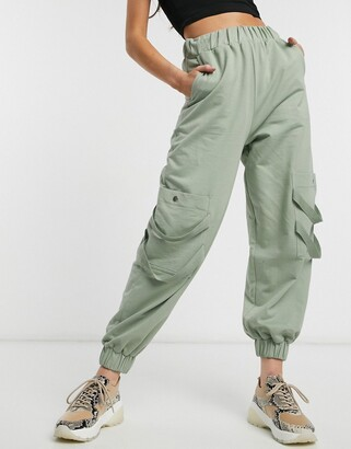 Asos DESIGN washed jogger with pockets and herringbone tape
