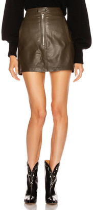 Marissa Webb Alexander Mini Leather Skirt in Olive | FWRD
