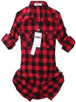 OCHENTA Women's Mid Long Style Roll Up Sleeve Plaid Flannel Shirt Label 8XL - US 2XL+