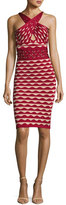 Herve Leger Scalloped Jacquard Crossover-Neck Dress with Rings, Cranberry Combo