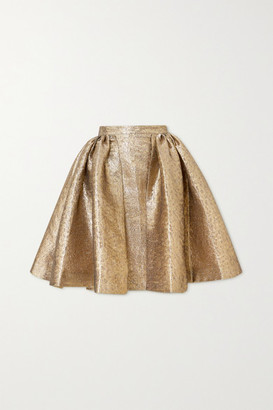 Emilia Wickstead Pleated Lame Skirt - Gold