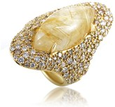 Alexis Bittar 18K Yellow Gold Diamond & Rutilated Quartz Ring