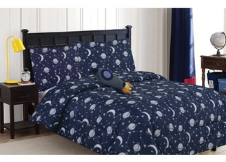 N/A Constellation Space Themed 4-Piece Comforter Set with Decorative Pillow