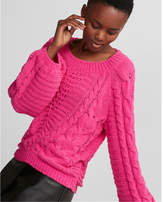 Express cable knit matte chenille balloon sleeve sweater