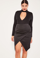 Missguided Black Plus Size Asymmetric Midi Skirt