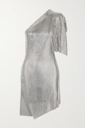 Fannie Schiavoni Rosie One-shoulder Open-back Chainmail Mini Dress - Silver