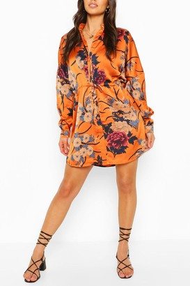 boohoo Floral Print Luxe Shirt Dress