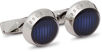 HUGO BOSS Harper Silver-Tone And Enamel Cufflinks