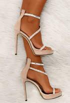 Pink Boutique Lavish Pursuit Nude Faux Suede Embellished Platform Heels