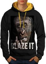 Blaze It Gorilla Ape Life Form Men NEW M Contrast Hoodie | Wellcoda