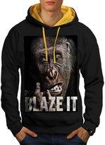 Blaze it Weed Pot Rasta Ape Life Form Men M Contrast Hoodie   Wellcoda
