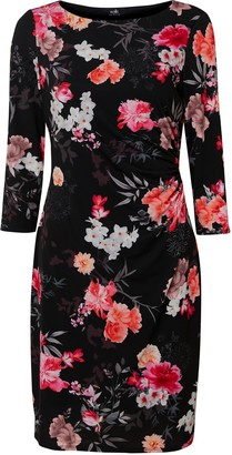 Wallis Black Floral Print Ruched Side Dress