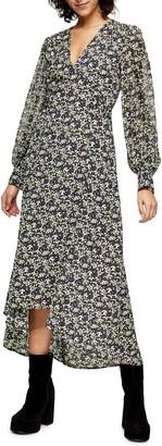 Topshop IDOL Floral Print Long Sleeve High/Low Dress