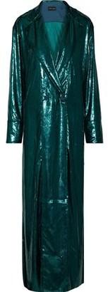 Michael Lo Sordo Satin-trimmed Metallic Velvet Gown
