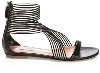 Alaia Elastic Crisscross Flat Leather Sandals