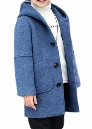 H&E Boys' Winter Hooded Single Breasted Wool Blend Pea Coat Royal Blue 6/7T